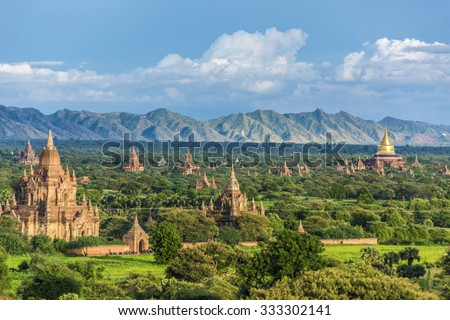 Pagoda landscape the Temples of Bagan(Pagan), Mandalay, Myanmar - stock photo
