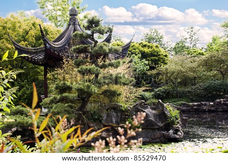 Pagoda of classical Chinese Garden in Chinatown of Vancouver BC - stock photo