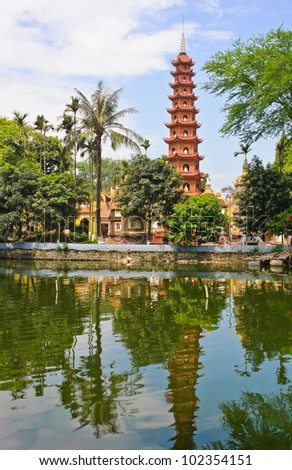 Pagoda of Tran Quoc temple in Hanoi, Vietnam - stock photo