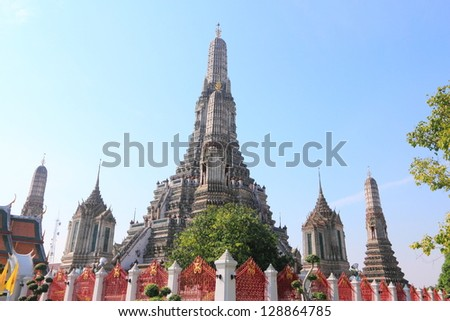 Pagoda of Wat Arun Temple, Bangkok, Thailand - stock photo