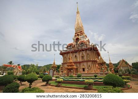 Pagoda of Wat Chai Tkara, or Wat Chalong in Phuket, thailand - stock photo