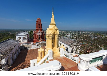 Pagoda of Wat Phra Kaew in Khao Wang, aka Phra Nakhon Khiri Historical Park, in Phetchaburi, Thailand. Here is summer place of King Rama IV and King Rama V. - stock photo