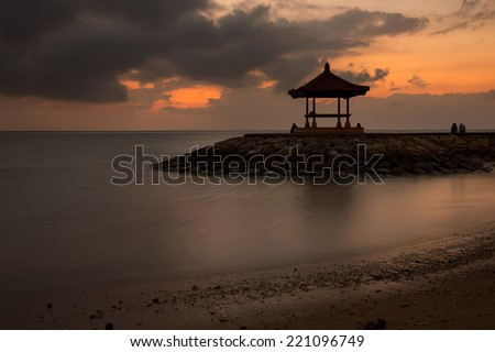 Pagoda on Sanur Beach during sunrise, Bali Island, Indonesia. - stock photo