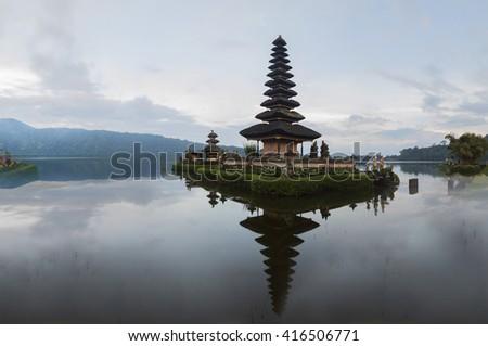 Pagoda Pura Ulun Danu Bratan temple on Bali, Indonesia. - stock photo