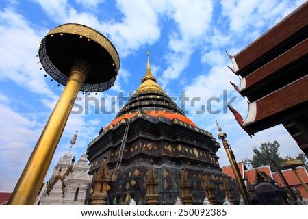 Pagoda temple Phrathat Lampang Luang in Lampang, Thailand  - stock photo