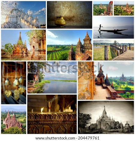 Pagodas and temples in the valley of Bagan in the asian country Myanmar, together in a collage of images  - stock photo