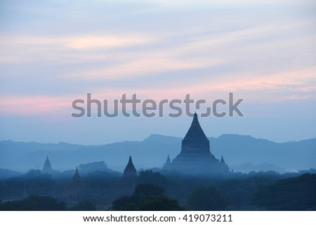 pagodas in bagan at sunset