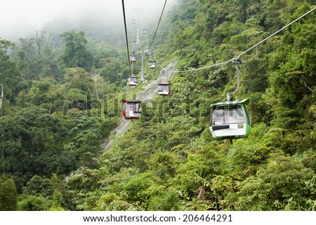 PAHANG, MALAYSIA - AUGUST 8: Visitors travel on Genting Skyway cable cars on August 8, 2013 in Pahang, Malaysia. Genting Skyway is a gondola lift connecting Gohtong Jaya and Resorts World Genting