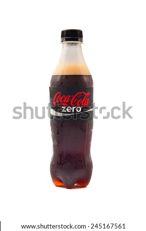 PAHANG, MALAYSIA - Jan 18, 2015: Coca-Cola Zero Bottle Isolated On White Background. Coca-Cola is a carbonated soft drink sold in shops, restaurants, and vending machines around the globe - stock photo