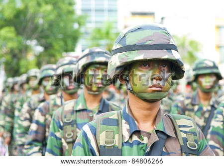 PAHANG, MALAYSIA-SEP 16:Unidentified Malaysia Royal Ranger participates in National Day and Malaysia Day parade, celebrating 54th anniversary of independence on September 16, 2011 in Kuatan, Pahang, Malaysia
