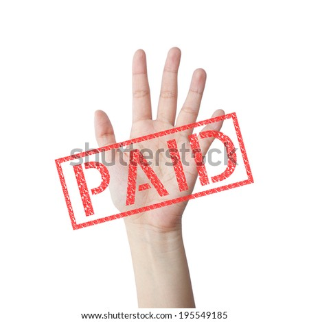 PAID red stamp hand concept isolated white background - stock photo