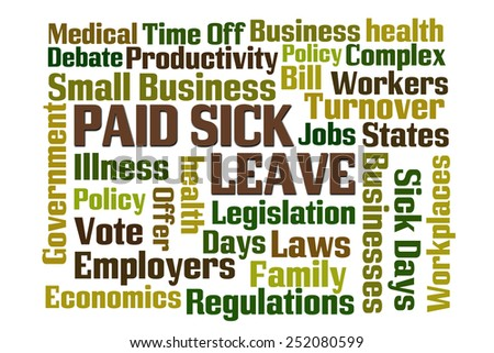 Paid Sick Leave word cloud with white background - stock photo