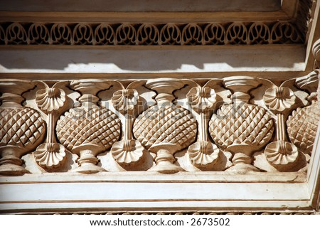 Paigah, tombs, hyderabad, india, Indo- Islamic, carving, wood, architectural, Built in 19th century - stock photo