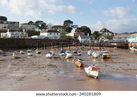 Paignton harbour Devon England UK near Torquay with boats at low tide  - stock photo