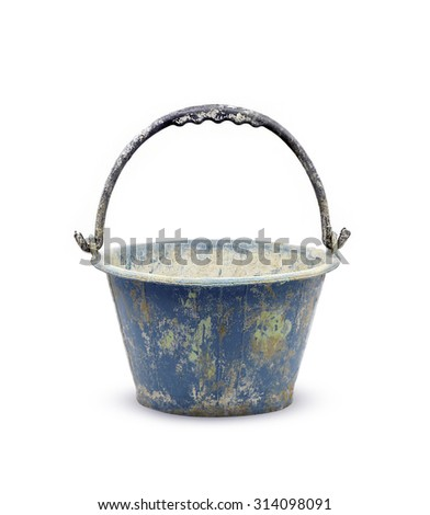 pail for about cement work on white background - stock photo