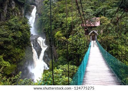 Pailon del Diablo - Mountain river and waterfall in the Andes. Banos. Ecuador - stock photo