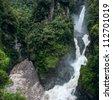 Pailon del Diablo - Mountain river and waterfall in the Andes, Ecuador - stock photo