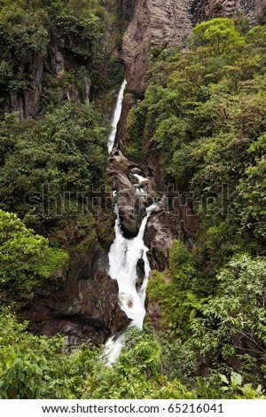 PAILON DEL DIABLO WATERFALL ON PASTAZA RIVER IN ECUADOR ATTRACTIVE DESTINATION FOR RAFTING LOVERS