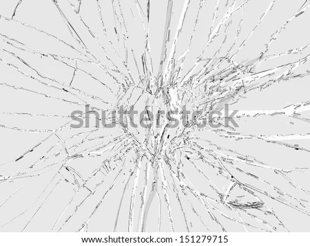 Pain and death: Shattered glass heart shape. Large resolution - stock photo
