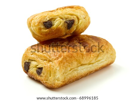Pain au Chocolate french pastry from low perspective isolated on white.