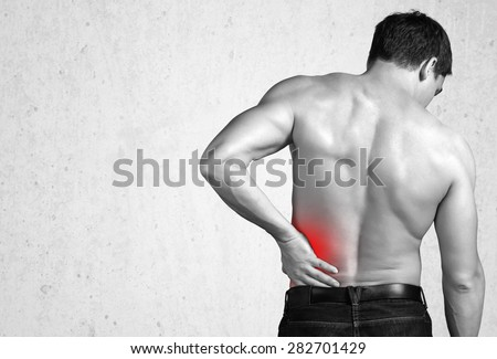 Pain, back, sports. - stock photo