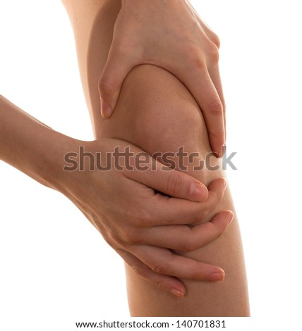 Pain concept.Female knee.Isolated