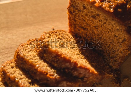 Pain d epices or French Honey Bread. Original Homemade Fresh Baked on Wooden Board. Country, Still Life. Close up, Selective. - stock photo