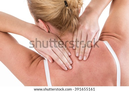 pain. girl holds neck in his hands