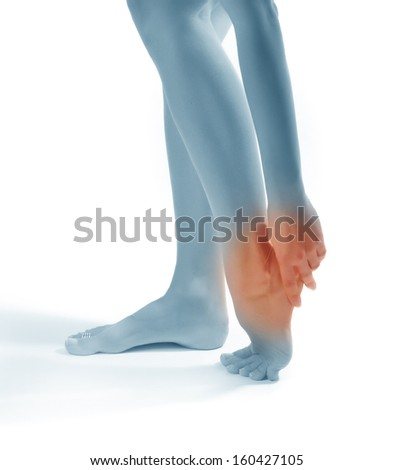 Pain in a foot. sports trauma - stock photo