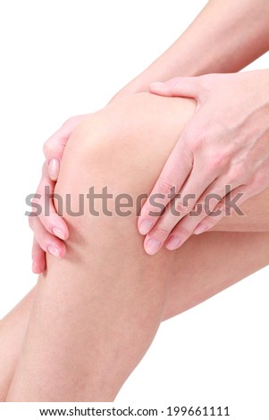 Pain in a knee, white background.