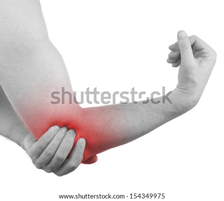 Pain in a man elbow. Male holding hand to spot of elbow pain.  - stock photo