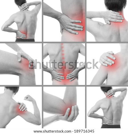 Pain in a man's body. Isolated on white background. Collage of several photos - stock photo