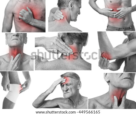 Pain in a man's body. Isolated on white background. Collage of several photos