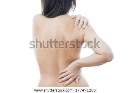 Pain in back of women. Caring for the female body.