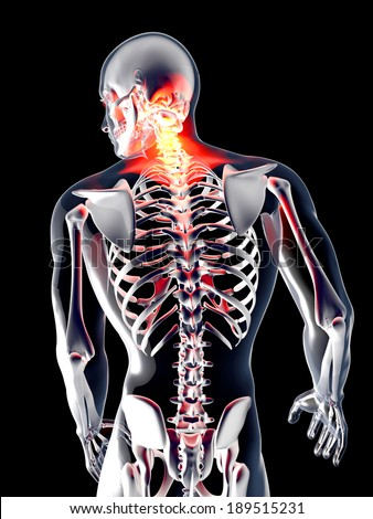 Pain in the back. 3D rendered illustration. Isolated on black. - stock photo