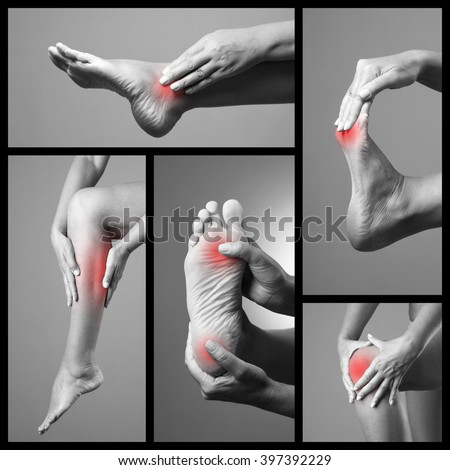 Pain in the foot. Massage of female feet. Sore on woman legs. Pain in the human body on a gray background. Collage of body parts of several photos. Black and white photo with red dot - stock photo