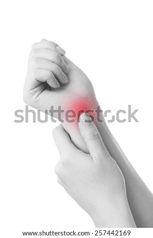 Pain in the joints of the hands. Carpal tunnel syndrome.  Isolated on white background. Care of female hands. - stock photo