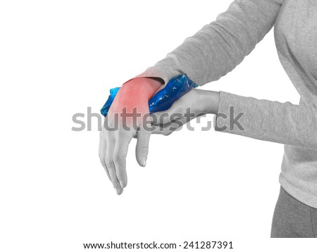 Pain in the woman's wrist injury healing with cold ice pack. Medical concept photo. - stock photo