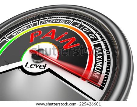 pain level conceptual meter indicate maximum, isolated on white background - stock photo