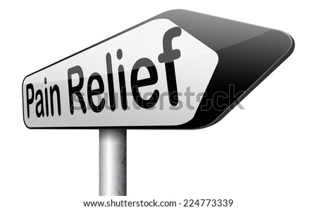 pain relief and management by painkiller for back pain or migraine  - stock photo