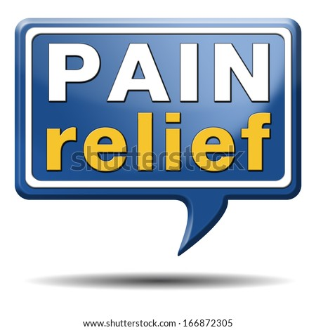 pain relief or management by painkiller or other treatment chronic back injury sign with text - stock photo