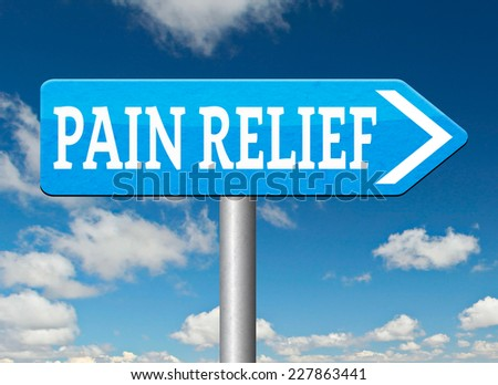 pain relief or management by painkiller or other treatment chronic back pain road sign arrow  - stock photo