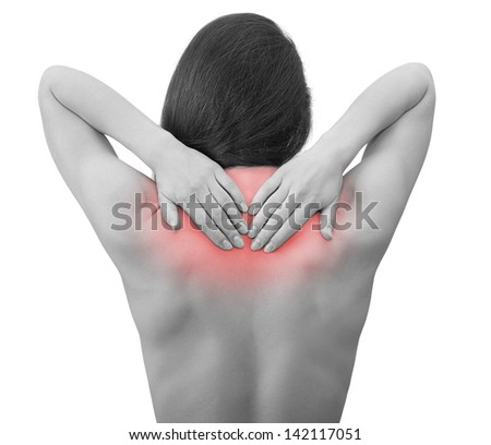 Pain. Woman holding hands back neck isolated on white background - stock photo
