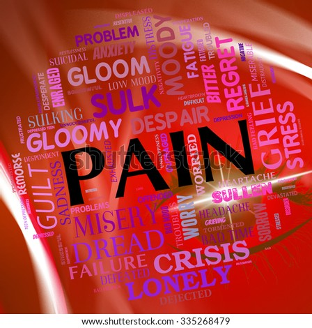 Pain Word Meaning Words Pains And Throb - stock photo
