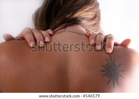 Painful! A young woman bends over in pain! - stock photo