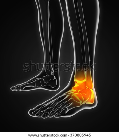 Painful Ankle Illustration - stock photo