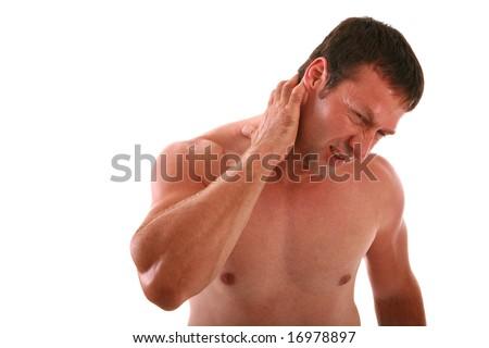 Painful Expression Man Holding Neck on Isolated Background - stock photo