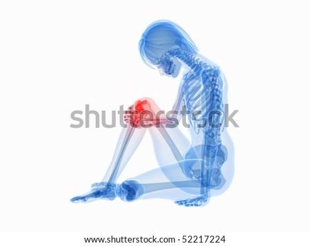 painful knee - stock photo