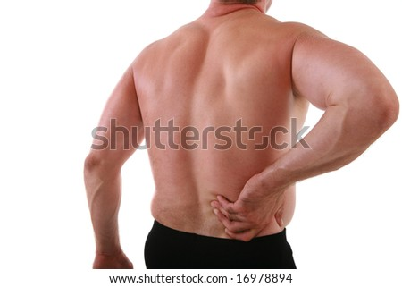 Painful Man Holding Back on Isolated Background