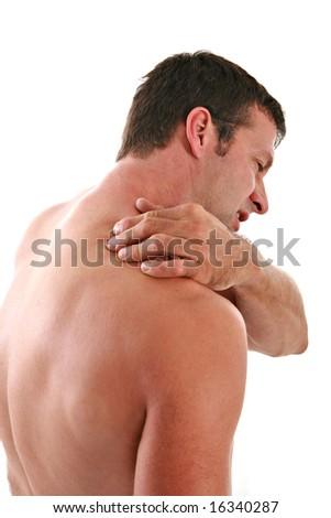 Painful Man Holding Neck on Isolated Background - stock photo